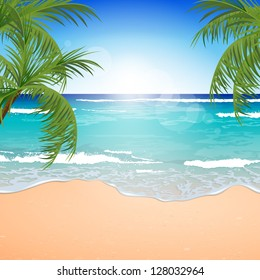 Vector Illustration of an Azure Ocean with Blue Sky and White Sand