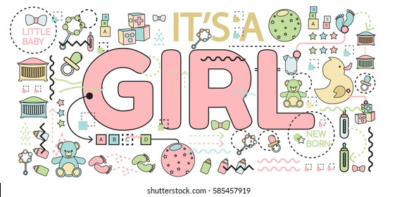"""Vector illustration. Baby announcement """"it's a girl"""" text. Baby shower concept"""