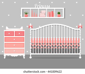 Vector illustration with baby bed, commode and shelf in flat style. Trendy nursery interior design