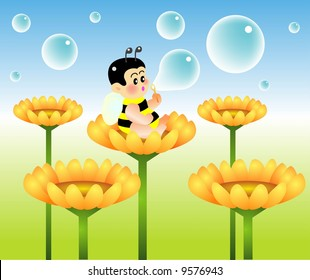 vector illustration for a baby bee blowing bubble
