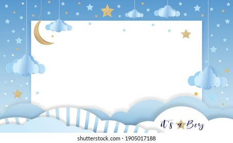 Vector illustration for baby boy shower card on blue background,Paper art abstract origami cloudscape, crescent moon and stars on blue sky,Cute paper cut with copy space for baby's photos