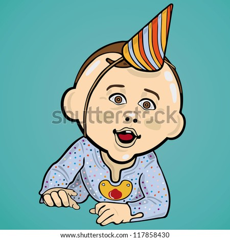 Vector Illustration Of Baby Boy Wearing A Birthday Hat
