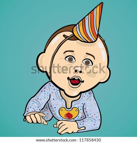 Vector Illustration Of Baby Boy Wearing A Birthday Hat