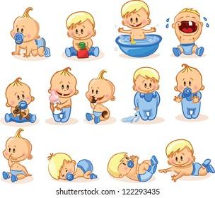 Vector illustration of baby boys