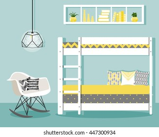 Vector illustration with baby bunk bed, chair and book shelf in flat style. Trendy nursery interior design