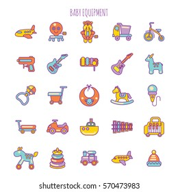 Vector Illustration of Baby Care Items. Baby Equipment and Toy