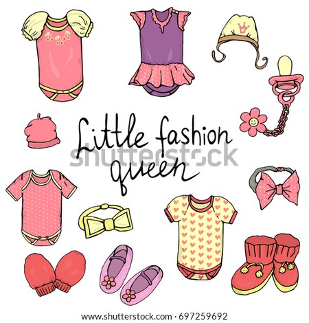 71f31ccaa Vector illustration of baby clothes. Baby girl clothes set. Children  fashion set. Stylish clothes and accessories for children isolated on white  background ...