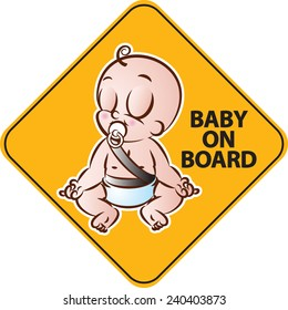 vector illustration of Baby doing yoga on board yellow diamond warning sign for vehicle safety