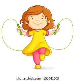 vector illustration of baby girl doing skipping against white background