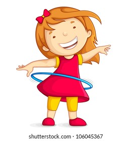 vector illustration of baby girl playing with hula hoop