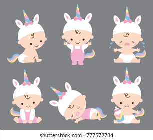 Vector illustration of baby girl in unicorn costume with various poses including sitting, standing, crying, sleeping, etc.
