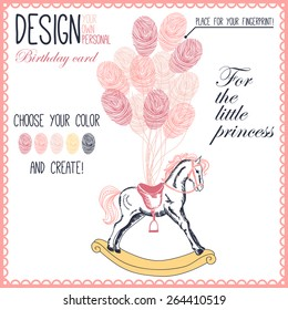 Vector illustration of  baby hobbyhorse for little girl with balloons. Variant of design of your birthday card