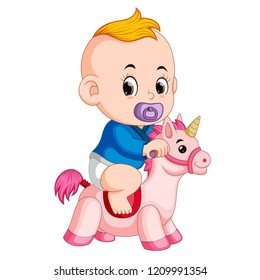 vector illustration of the baby play with unicorn toy