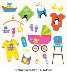 Vector illustration of baby product set.