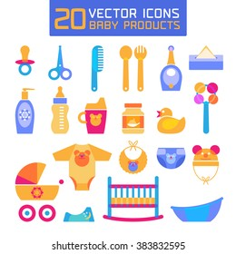 Vector illustration of baby products. Icons, symbols for newborns - toys, bed, cloths, baby soother, stroller etc