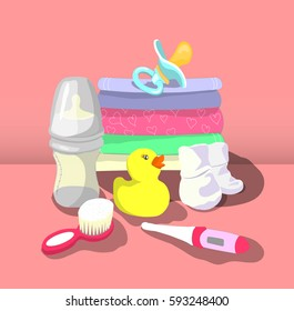 Vector illustration of baby products.accessories for kids .things for children care. maternal and newborn concept