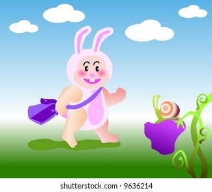 vector illustration for a baby rabbit first day to school