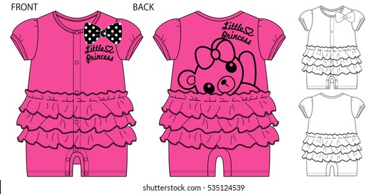 Vector illustration of Baby rompers. Front and back views