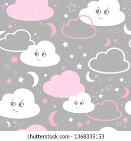 vector illustration baby seamless pattern. Children seamless pattern with cute pink clouds, stars on a gray background.