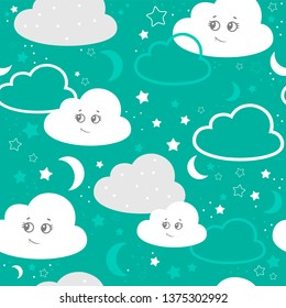 vector illustration baby seamless pattern. Children seamless pattern with cute clouds, stars on a turquoise background.