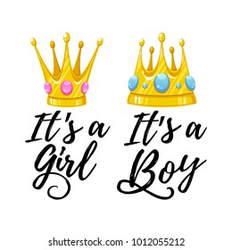 Vector illustration, baby shower cards. It's a boy text, It's a girl text.