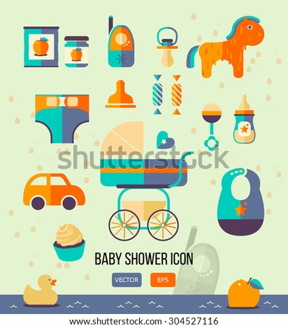 vector illustration baby shower icon for invitation template web design flat style birthday