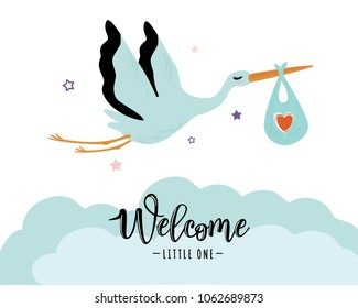 Vector illustration of a baby shower Invitation with stork. Stork carrying a cute baby in a bag. Can be used for cards, flyers, posters, t-shirts.