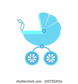 Vector illustration of a baby stroller for a boy on a white isolated background. Template for design of postcard, album, applique.