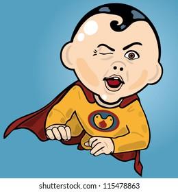 Vector illustration of a baby superhero