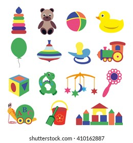 Vector illustration of baby's toys set Collection of colorful cartoon toys. Beautiful baby icons