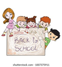 Vector illustration, back to school, card concept, white background.