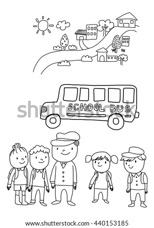 Vector Illustration Back School Coloring Page Stock Vector Royalty