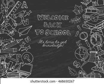 Vector illustration  Back to school frame border pattern of kids doodles with bus, books, computer, blackboard and world map