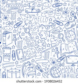 Vector illustration. Back to school vector pattern. Textile fabric design, wrapping paper and website wallpapers.