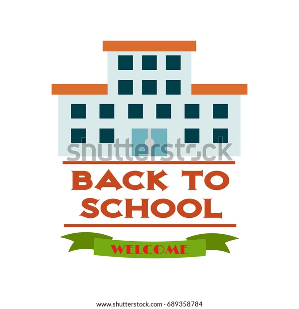 Vector Illustration Back School Supplies Label Stock Vector
