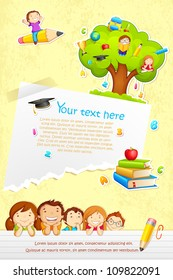 vector illustration of back to school template with kids