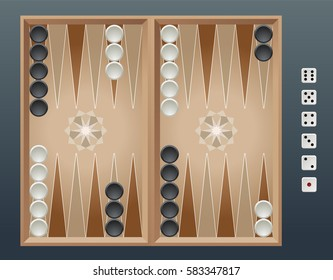 Vector illustration of a Backgammon Board, with playing pieces and dice.