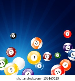 Vector Illustration of a Background with Billiard Balls