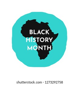 Vector illustration background with black African continent silhouette, blue round background. Black history month.