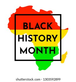 Vector illustration background with black and red, yellow, green stripes on silhouette a African continent. Black history month.
