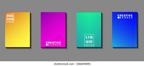 Vector illustration background of bright color pattern  with line gradient texture for minimal dynamic cover design. Blue, pink, yellow, green placard poster template, A4 size and EPS 10