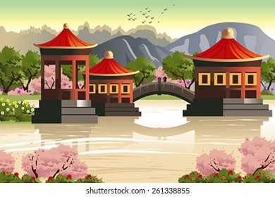 A vector illustration of background of Chinese temples