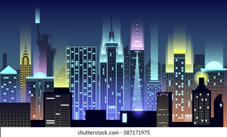 Vector illustration background city night in neon style architecture buildings monuments town country travel USA, welcome New York, Statue of Liberty, United States of America, bridge, skyscrapers