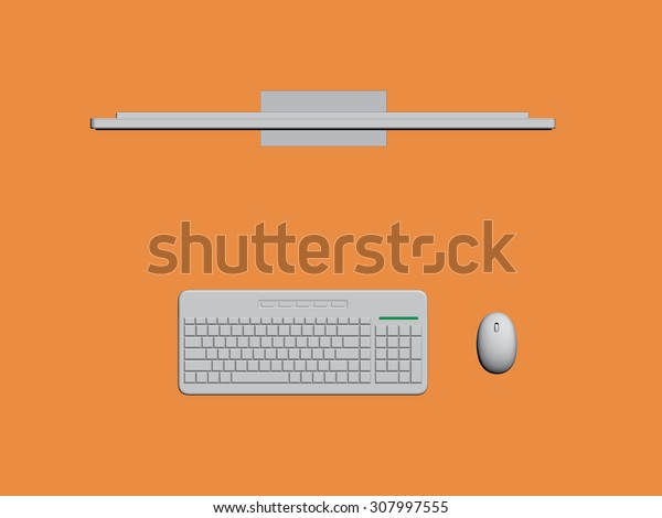 Vector illustration background with a computer. Top view. Isolated. 3D. EPS 8.