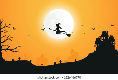 Vector illustration background ็็Halloween day. The witch riding a broom through the full moon.