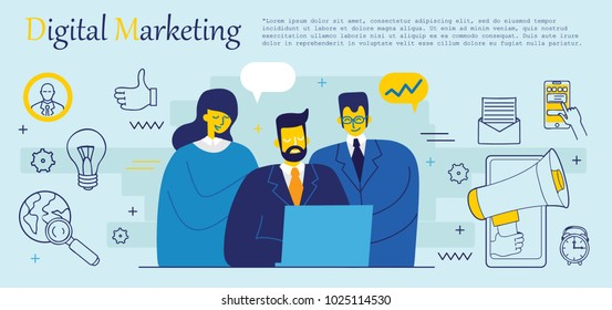 Vector illustration background of digital marketing in flat style