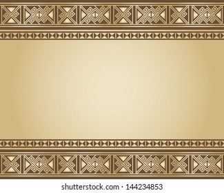 Vector illustration background of ethnic design in brown and beige colors.