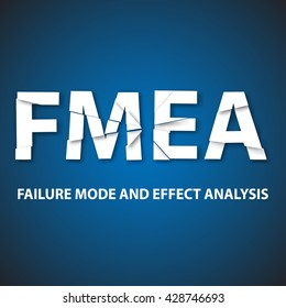 Vector illustration of background failure mode and effect analysis. FMEA industrial strategy vector background.