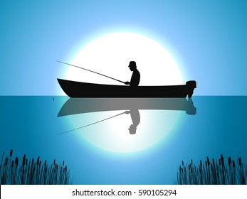 Vector illustration background fisherman on the boat fishes on the against the moon. Fishing on the moonrise.