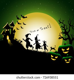 Vector and illustration background of Halloween party night with silhouette of fancy dressing children, trick or treat